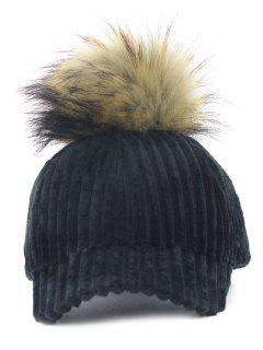 Removable Fuzzy Ball Embellished Corduroy Baseball Hat - Black
