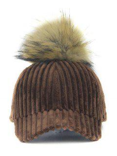 Removable Fuzzy Ball Embellished Corduroy Baseball Hat - Coffee