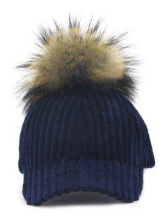 Removable Fuzzy Ball Embellished Corduroy Baseball Hat - Navy