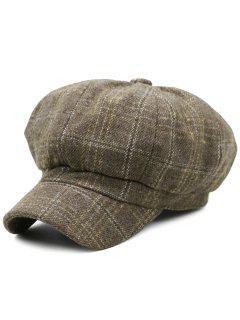 Tartan Pattern Embellished Woollen Beret Hat - Khaki