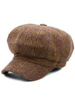 Tartan Pattern Embellished Woollen Beret Hat - Coffee