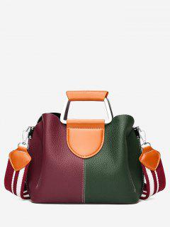 Faux Leather Contrasting Color Stitching Handbag - Red And Green