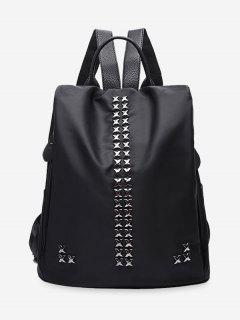 Criss Cross Metal Backpack - Black