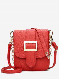 Chain Buckle Strap Faux Leather Crossbody Bag - Red