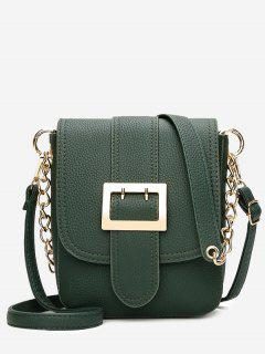 Chain Buckle Strap Faux Leather Crossbody Bag - Green