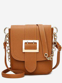 Chain Buckle Strap Faux Leather Crossbody Bag - Brown