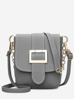 Chain Buckle Strap Faux Leather Crossbody Bag - Gray