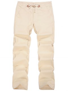 Linen Drawstring Pants - Apricot Xl