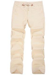 Pantalones Con Cordón De Lino - Albaricoque Xl