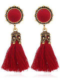 Vintage Pompon Tassel Earrings - Red