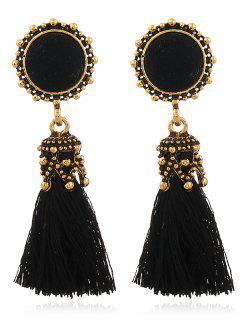 Vintage Pompon Tassel Earrings - Black