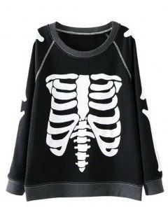 Skeleton Print Crew Neck Sweatshirt - Black M