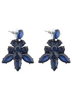 Vintage Artificial Crystal Leaf Earrings - Blue