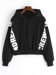 Graphic Fleece Crop Hoodie - Black