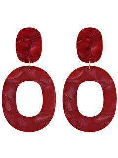Resin Oval Geometric Earrings - Red