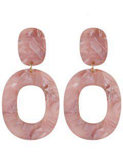 Resin Oval Geometric Earrings - Pink
