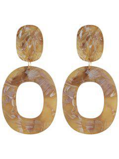Resin Oval Geometric Earrings - Light Coffee