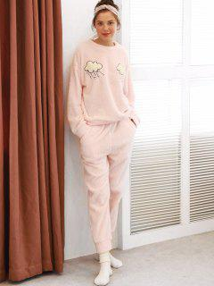 Clouds Graphic Fuzzy Pajama Set - Pink L