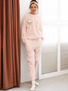 Clouds Graphic Fuzzy Pajama Set - Pink M