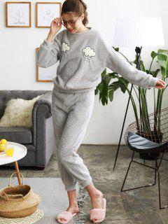 Wolken-Grafik Fuzzy Pyjama Set - Grau M