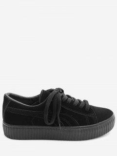 Tie Up Faux Suede Platform Sneakers - Black 38