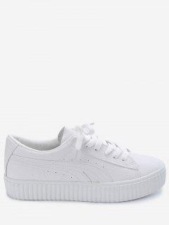 Tie Up Faux Suede Platform Sneakers - White 37