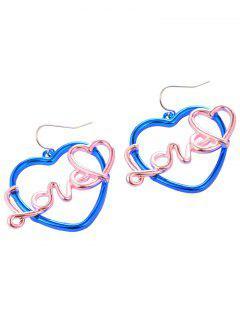 Love Heart Hook Earrings - Pink