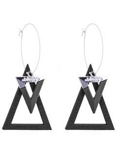 Triangle Circle Hoop Drop Earrings - Black