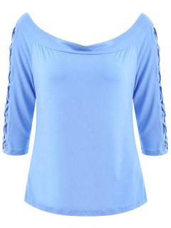 Strappy Sleeve Off Shoulder Plus Size Top - Blue 4xl