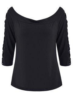 Strappy Sleeve Off Shoulder Plus Size Top - Black Xl