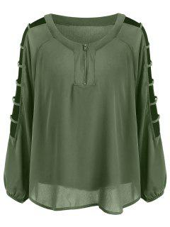 Ladder Cut Half Zipper Plus Size Blouse - Army Green 3xl