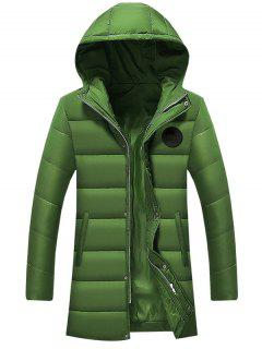 Hooded Applique Longline Zip Up Padded Coat - Green 2xl