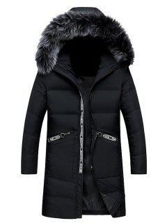 Faux Fur Collar Graphic Print Longline Zip Up Down Coat - Black 2xl