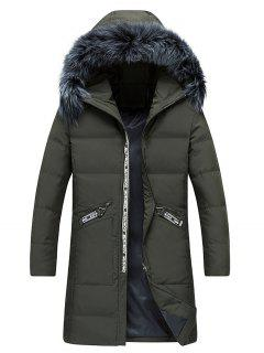 Faux Fur Collar Graphic Print Longline Zip Up Down Coat - Army Green M