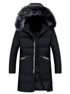 Faux Fur Collar Graphic Print Longline Zip Up Down Coat - Black M