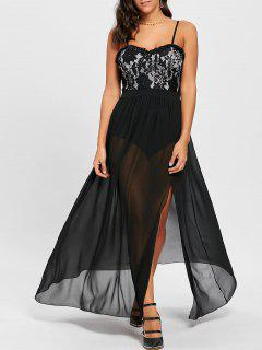 Lace Insert High Slit Maxi Party Dress - Black Xl