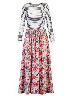 Robe Longue à Imprimé Floral à Rayures - Floral L