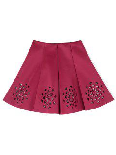 Floral Cutwork Skirt - Wine Red
