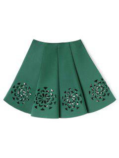 Floral Cutwork Skirt - Green