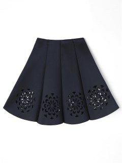 Floral Cutwork Skirt - Black