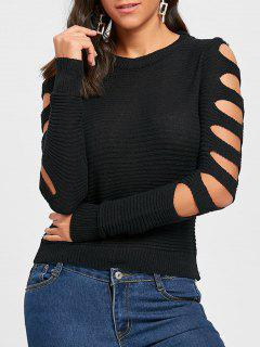 Crew Neck Cold Shoulder Cut Out Sweater - Black