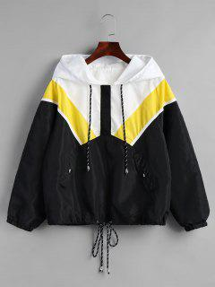 Half Zip Contrast Hooded Windbreaker Jacket - Black M