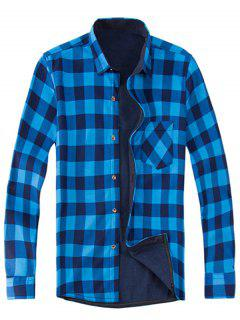 Long Sleeve Plaid Fleece Shirt - 3xl