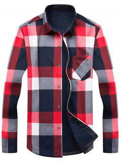 Long Sleeve Color Block Tartan Fleece Shirt - 2xl