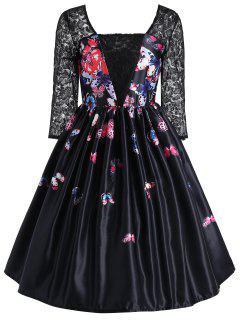 Butterfly Print Lace Panel Vintage Dress - Black M