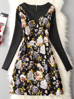 Vestido De Manga Larga Con Estampado Floral Vintage - Amarillo 2xl