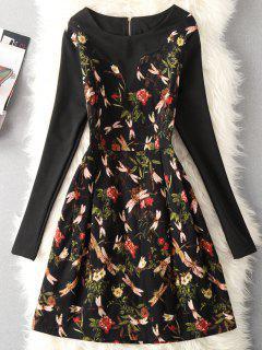 Robe à Manches Longues à Imprimé Floral Vintage - Rouge Xl