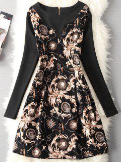 Vintage Leaf Chain Print A Line Dress - Black Xl