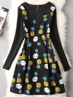 Cartoon Pineapple Print Fit And Flare Dress - Black 2xl