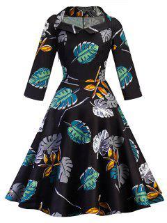 Vintage Leaves Print Skater Pin Up Dress - Black S